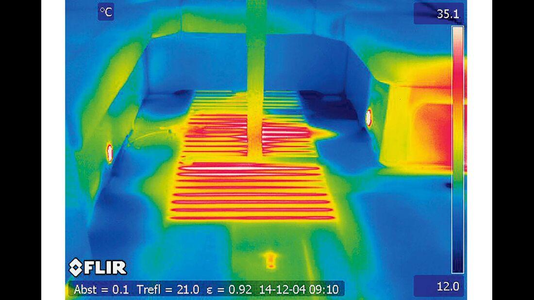Wärmebildkamera zeigt Temperatur im Innenraum