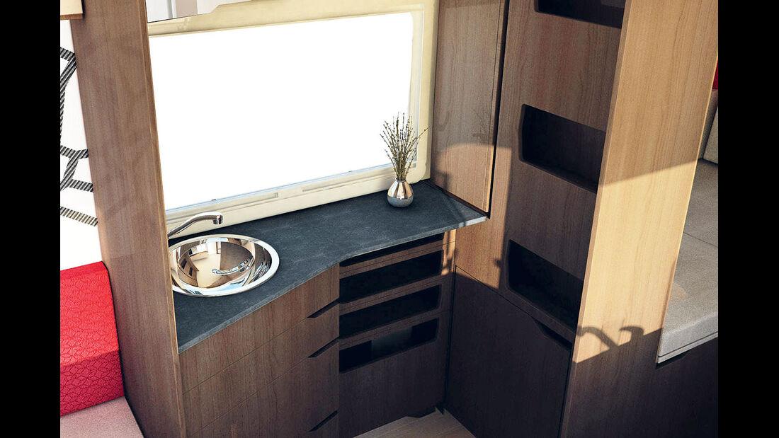 Wenn die Toilette unter dem Bett verschwindet, wird sogar ein Kompaktbad geraeumig.