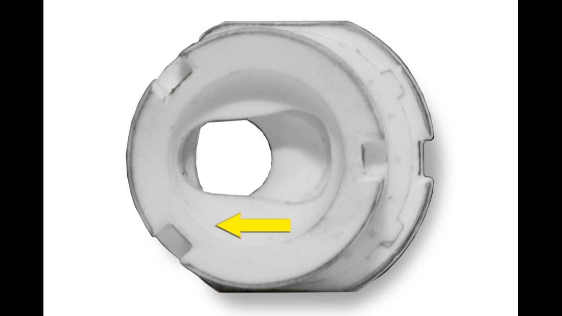 Wenn sich die obere Keramikplatte in der Ausgangsstellung befindet, sind beide Zuläufe dicht.