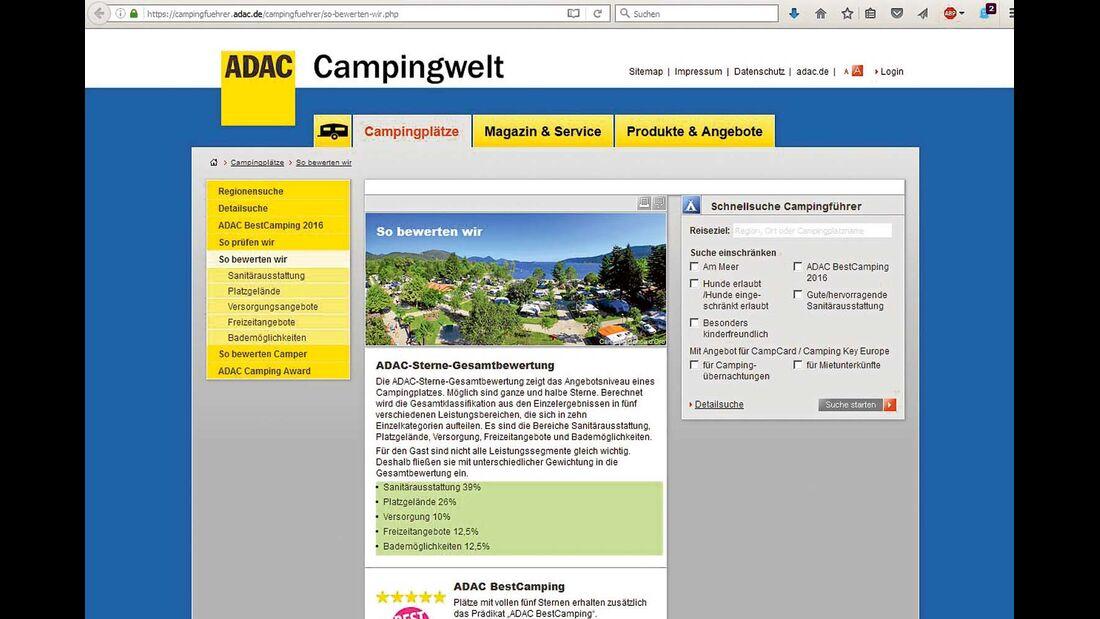 Wertungen werden erläutert bei www.campingfuehrer.adac.de