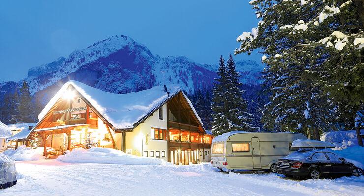 Winter im Camping Sass Dlacia in den Dolomiten