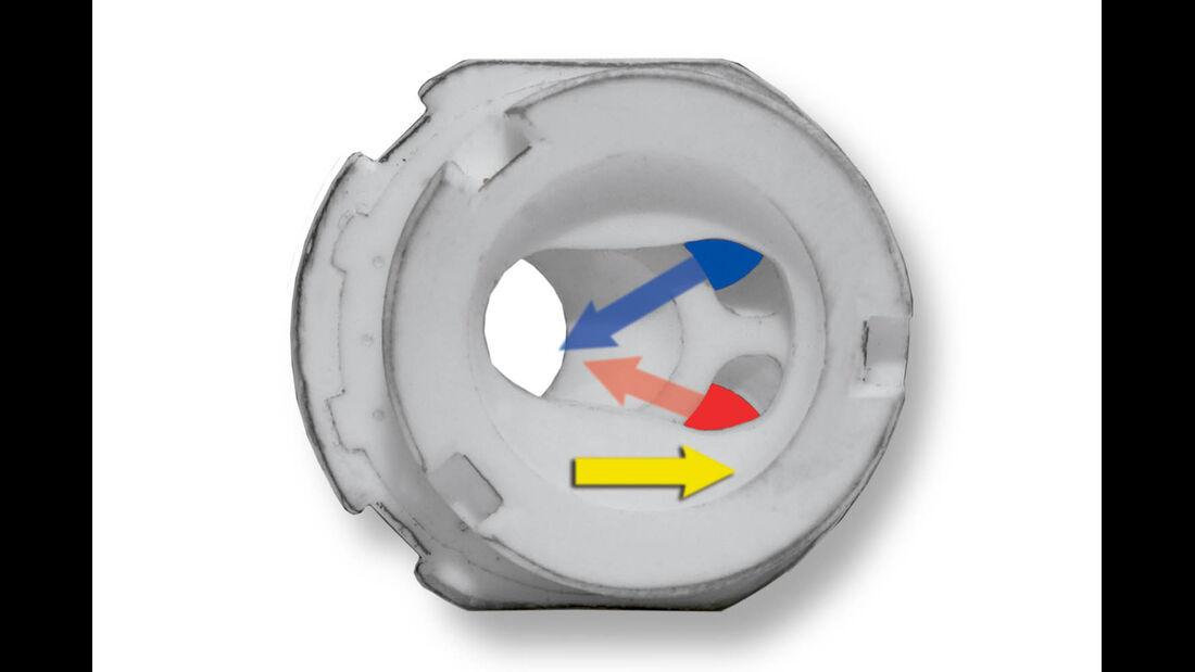 Wird die obere Keramikplatte mittig verschoben, fließt Warm- und Kaltwasser in den Überströmkanal.